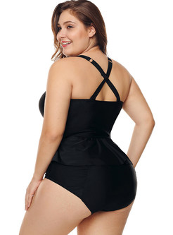 Stylish Print Plus Size Falbala Tankini