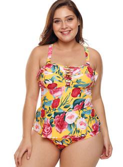 Fashion Hollow Out Falbala Print One Piece Swimwear