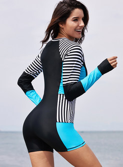 Color-blocked Striped Zippered One Piece Swimwear