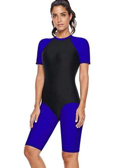 O-neck Short Sleeve Color-blocked Conservative Swimwear