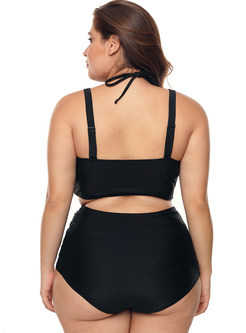 Sexy Solid Color High Waist Plus Size Swimwear