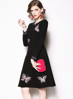 Stylish Butterfly Embroidered A Line Dress