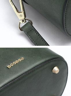 Trendy Green Zippered PU Bucket Top Handle Bag