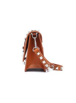 Fashion Brown Square Mini Crossbody Bag With Rivet