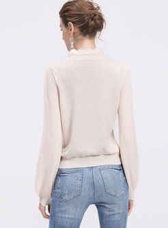 Fashion Solid Color Wool Pullover Knitted Sweater
