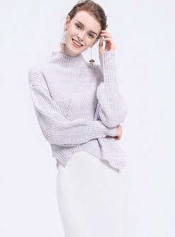 Purple Turtle Neck Lantern Sleeve Pullover Sweater