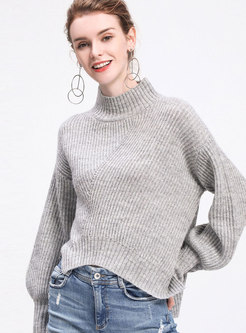 Grey Turtle Neck Lantern Sleeve Pullover Sweater