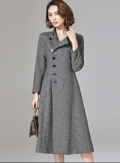 Retro Standing Collar Houndstooth Woolen Dress