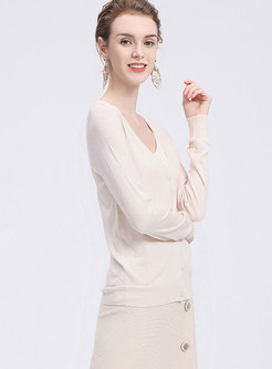 Stylish Monochrome V-neck Cardigan Knitted Sweater