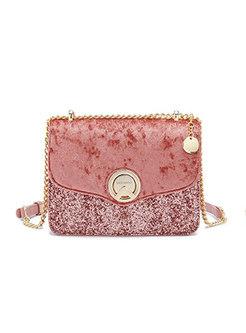 Chic Pink Velvet Chain Tote & Crossbody Bag