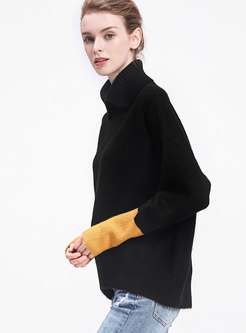 Stylish Turtle Neck Hit Color Sleeve Knitted Sweater