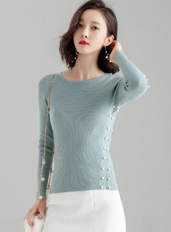 Elegant Pure Color O-neck Beaded Slim Sweater