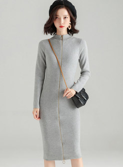 Pure Color Stand Collar Zipper Sheath Knitted Dress