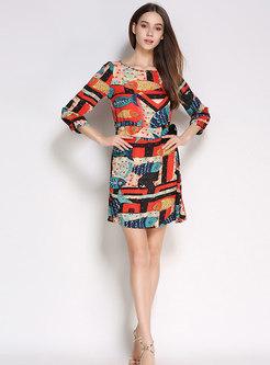 Multi Color Print O-neck Beaded Tie-waist Mini Dress
