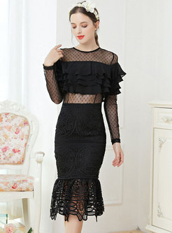 Black Mesh Patchwork Transparent Peplum Dress