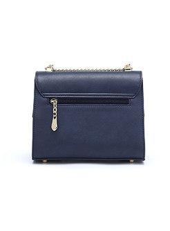 Deep Blue Hit Color Clasp Lock Chain Crossbody Bag
