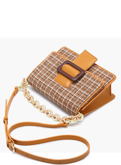 Fashion Solid Color Plaid All-matched Crossbody Bag