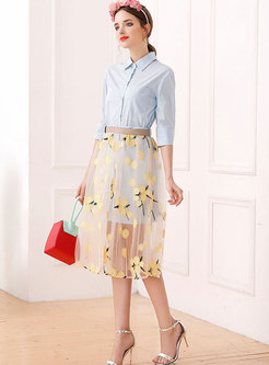Blue Half Sleeve Slim Blouse & Gauze Embroidered High Waist Skirt