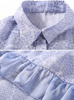 Stylish Print Lapel Single-breasted Single-breasted Falbala Dress