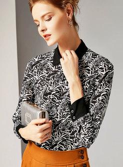 Trendy Black Contrast-collar Cardigan Printed Blouse