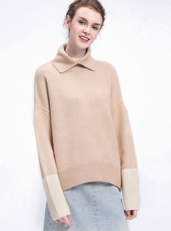 Stylish Apricot Turtle Neck Hit Color Sleeve Knitted Sweater