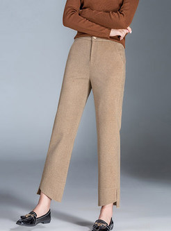 Casual Woolen Thicken Plus Size Asymmetric Pants