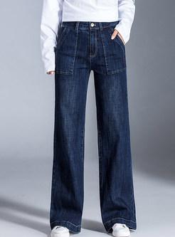 High Waist Slim Long Denim Wide Leg Pants With Pocket