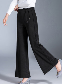 Casual Elastic Waist Bowknot Tied Wide Leg Pants
