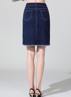 High Waist Plus Size Tassel Hem Asymmetric Skirt