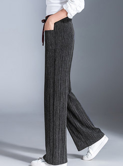 Elastic High Waist Tied Knitted Wide Leg Pants