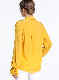 Yellow Turn-down Collar Bowknot Flare Sleeve Blouse
