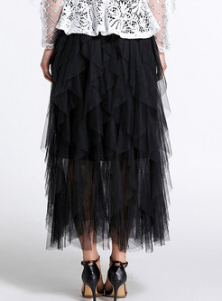 Black Elastic Waist Mesh Splicing Skirt