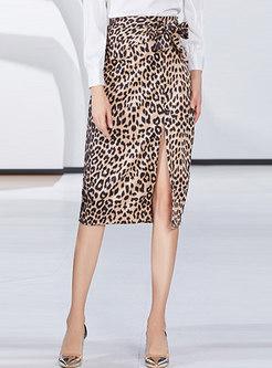 Sexy Leopard High Waist Wrap Split Skirt