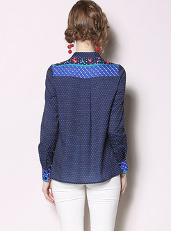 Standing Collar Long Sleeve Polka Dot Blouse