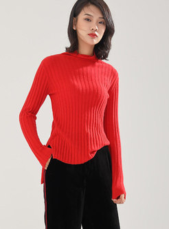 Casual Solid Color High Neck Split Sweater