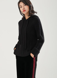 Casual Hooded Long Sleeve Knitted Sweater