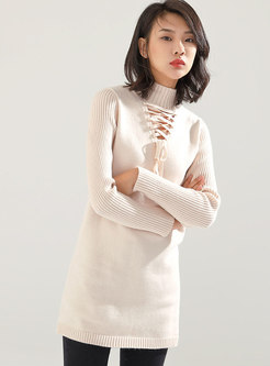 Chic High Neck Bowknot Sexy Knitting Sweater