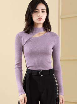 Elegant Woolen Slim Hollow Out Knitted Sweater