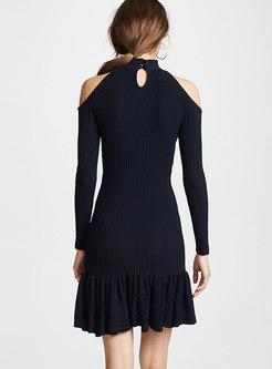 Black Off Shoulder Keyhole Slim Sexy Dress
