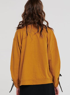 Yellow Casual Drop Shoulder Sleeve Hoodies