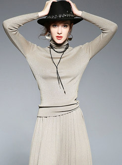 Stylish Turtle Neck Long Sleeve Slim Knitted Top
