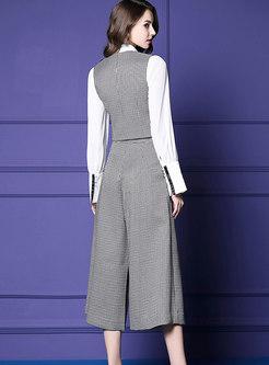 British White Blouse With Plaid Vest & High-rise Wide-leg Pants