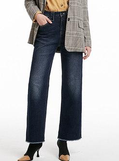Dark Blue Elastic High Waist Slim Straight Pants