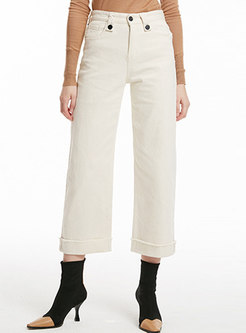 Stylish White All-matched Elastic Straight Pants