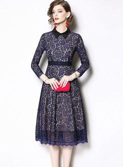 Stylish Turn Down Collar Waist Big Hem Lace Dress