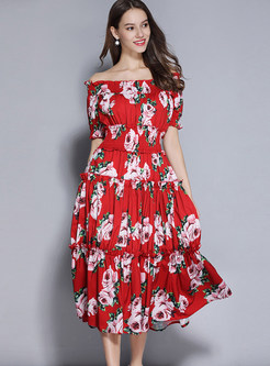 Fashion Slash Neck Short Sleeve Waist Maxi Dress