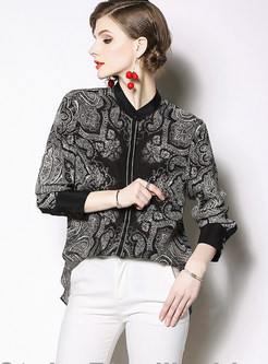 Vintage Standing Collar Long Sleeve Print Blouse