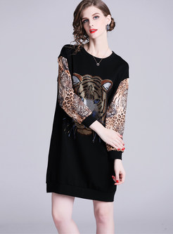 O-neck Plus Size Leopard Splicing Loose T-Shirt Dress