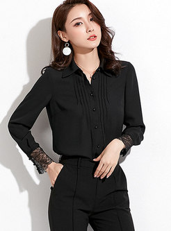 Trendy Black Lace Stitching Shift Blouse