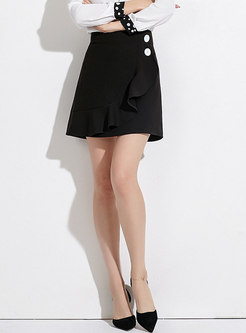 Autumn Black High-rise A Line Mini Skirt